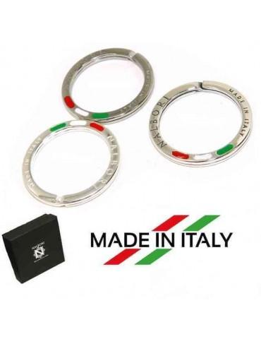 Portachiavi uomo o donna ad anello massiccio stampato made in italy bandiera italiana smaltata tre colori