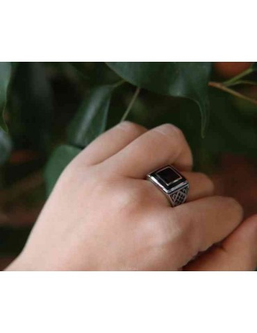 NALBORI 925 silver chevalier ring square black zircon shield