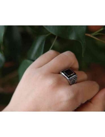 NALBORI Anello chevalier argento 925 scudo quadrato nero zirconi N138120