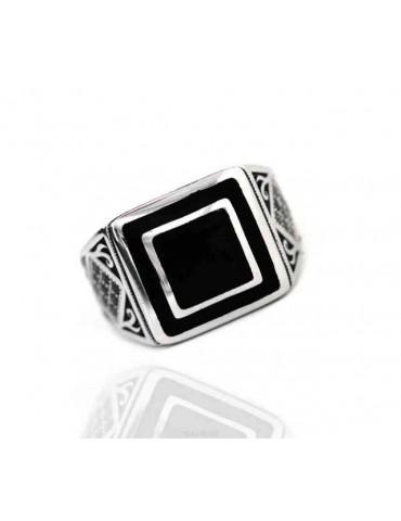 NALBORI 925 silver chevalier ring square black zircon shield