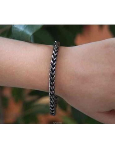 NALBORI Bracciale Acciaio snake spiga scuro 19.5 cm