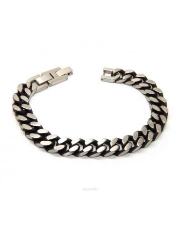 NALBORI Dark steel 10mm wide gourmette bracelet