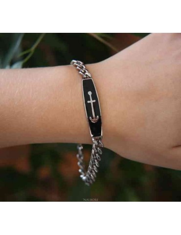 Steel bracelet gourmette plate anchor enamelled