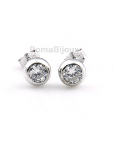 genuine 925 silver earrings for women man onion domed 4mm cubic zirconia