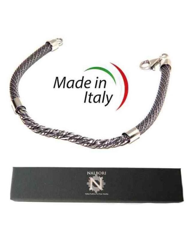 men's silver torcion bracelet with central insert