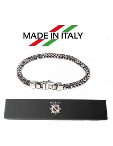 NALBORI bracciale argento 925 snake squadrato per uomo 19 cm