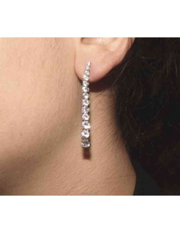 NALBORI Women's 925 silver tennis earrings with graduated white cubic zirconia