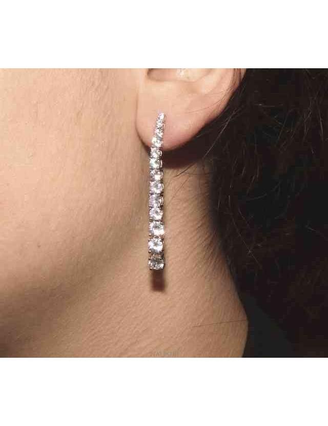 NALBORI Women's 925 silver tennis earrings with graduated white cubic zirconia