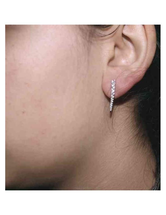NALBORI Tennis earrings silver 925 tennis gradation curved with white cubic zirconia