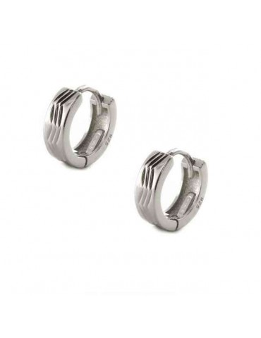 Silver 925: Men's and Women's Snaps Earrings Zig Zag 12mm (1 pair)