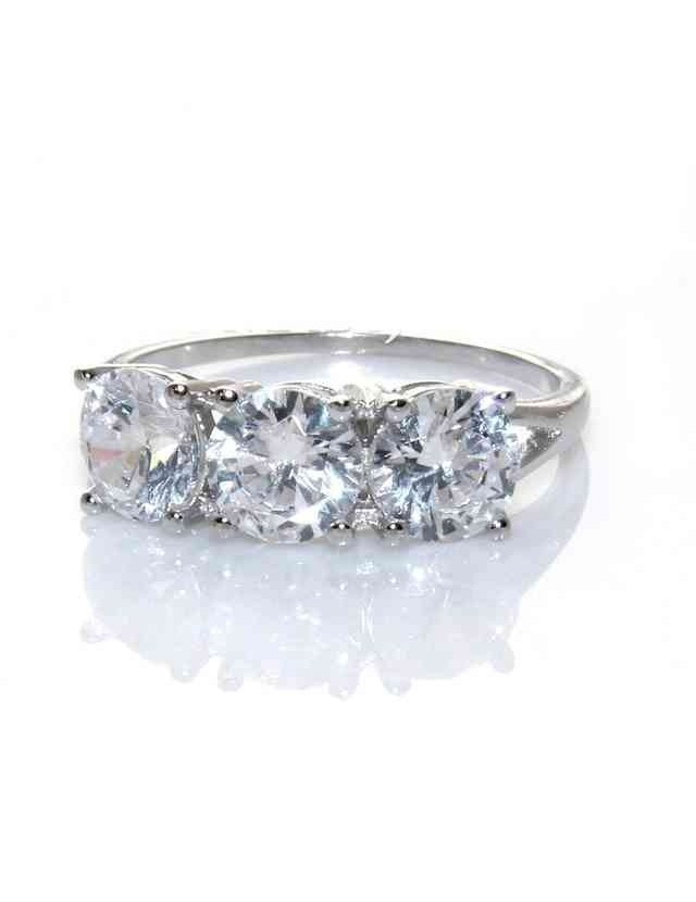 silver925 Rhodium: Trilogy with zircons from 0.6 brilliant cut