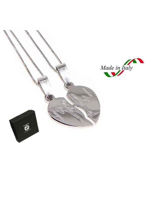 925 silver broken heart pendant for him and her + 2 necklaces