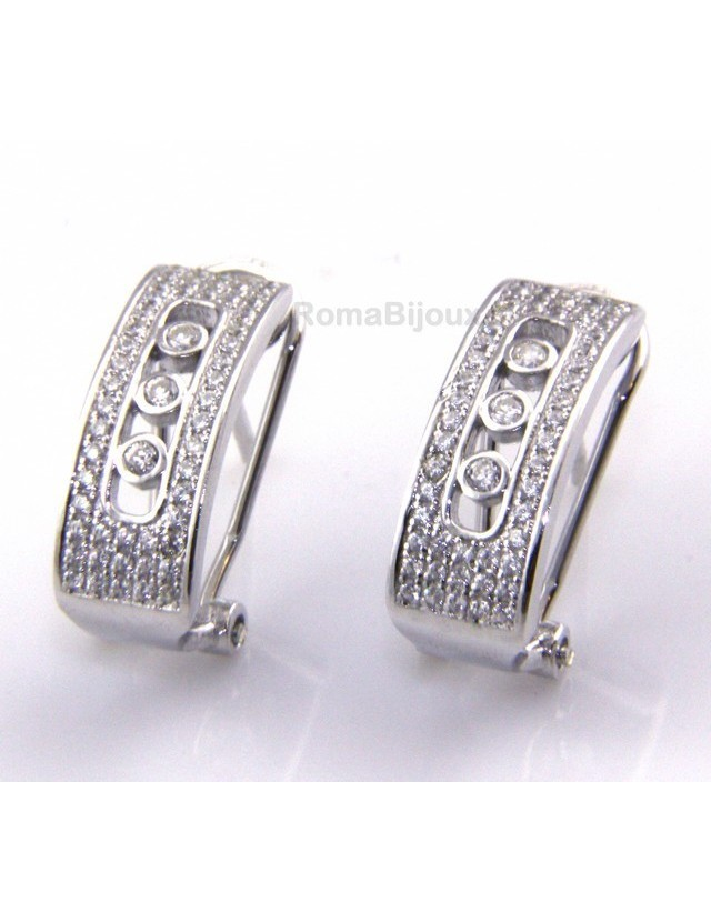 925 sterling silver earrings with omega binary central locking with 3 zircons from 1 mm