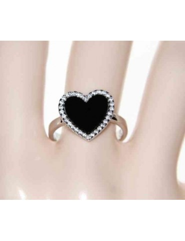 925 silver ring with onyx heart and zircons