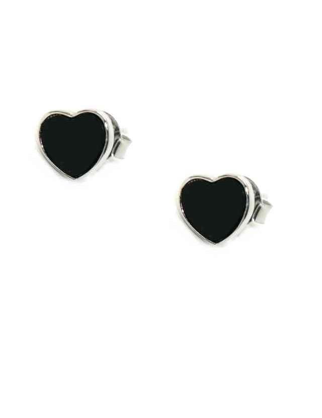 925 silver earrings small onyx heart