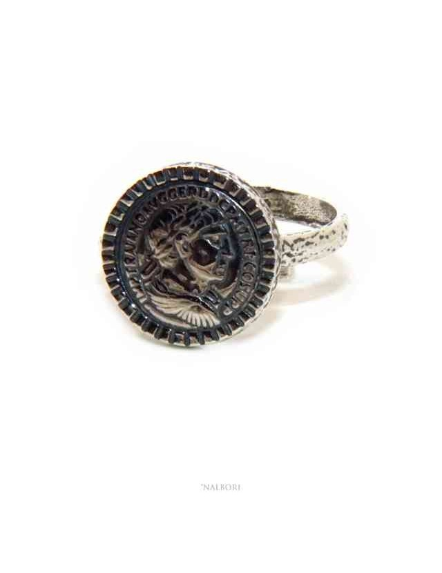 Ring Silver 925 for man or woman adjustable shield ancient coin