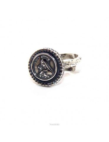 NALBORI Ring Silver 925 for man or woman adjustable shield holy rita