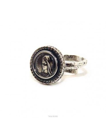 Ring Silver 925 adjustable shield Medjugorje Madonna