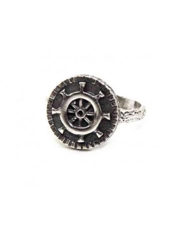 Anello Argento 925 da uomo o donna scudo regolabile timone nautico
