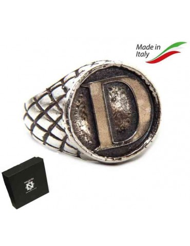 NALBORI Ring Silver 925 chevalier shield adjustable letter D