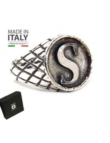 NALBORI Ring Silver 925 chevalier shield adjustable letter S