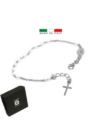 Rosary bracelet in 925 silver miraculous madonna and white beads