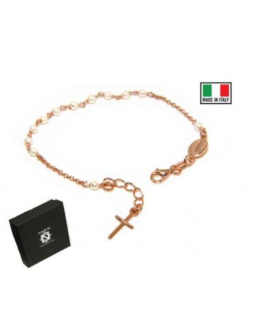 Bracciale rosario Argento 925 bagno in oro rosa con perline bianche