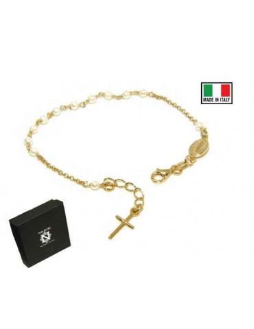 NALBORI Bracciale rosario Argento 925 bagno in oro giallo con perline bianche