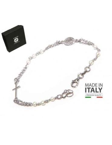 NALBORI Bracciale rosario uomo donna in Argento 925 madonna miracolosa , croce e perline bianche 16,50 19,50