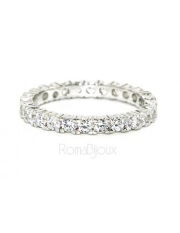 Argento 925 Rodiato : Eternity infinity fede tutto giro zirconi bianchi brillante 2,5 mm per uomo o donna