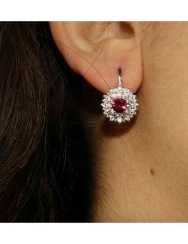 earrings in silvered 925 sterling silver round of cubic zirconia rubin