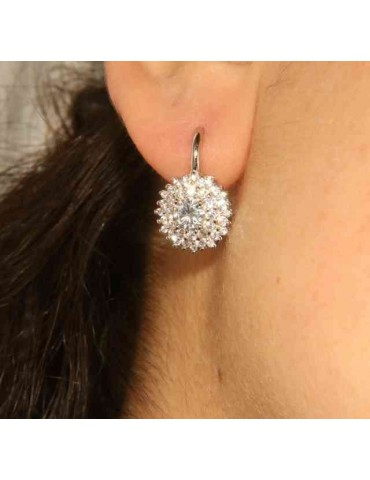 Woman earrings in silvered 925 sterling silver round of cubic zirconia 13mm