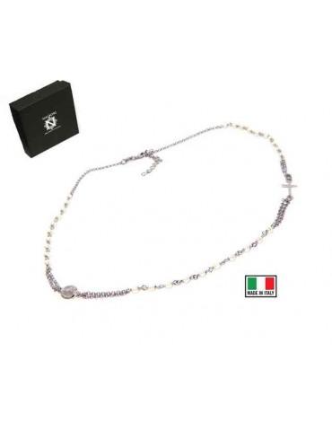 NALBORI Collana Rosario Argento 925  a giro con perle bianche 48+5