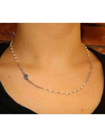 Rosary necklace 925 silver with round with 48 + 5 white pearls