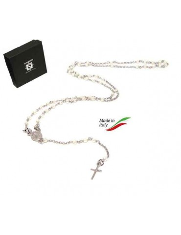 Y-shaped 925 silver rosary necklace with white pearls 55 cm white gold bath