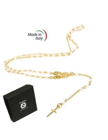 Y-shaped 925 silver rosary necklace with white pearls 55 cm Yellow gold bath