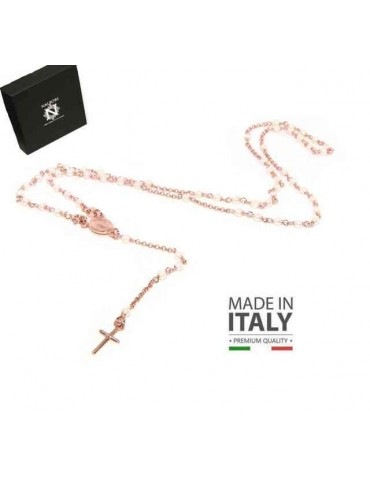 Y-shaped 925 silver rosary necklace with white pearls 55 cm rose gold bath