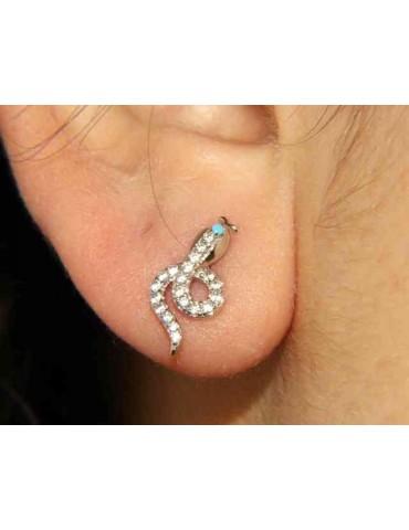 NALBORI orecchini argento 925 serpenti con zirconi contrariè