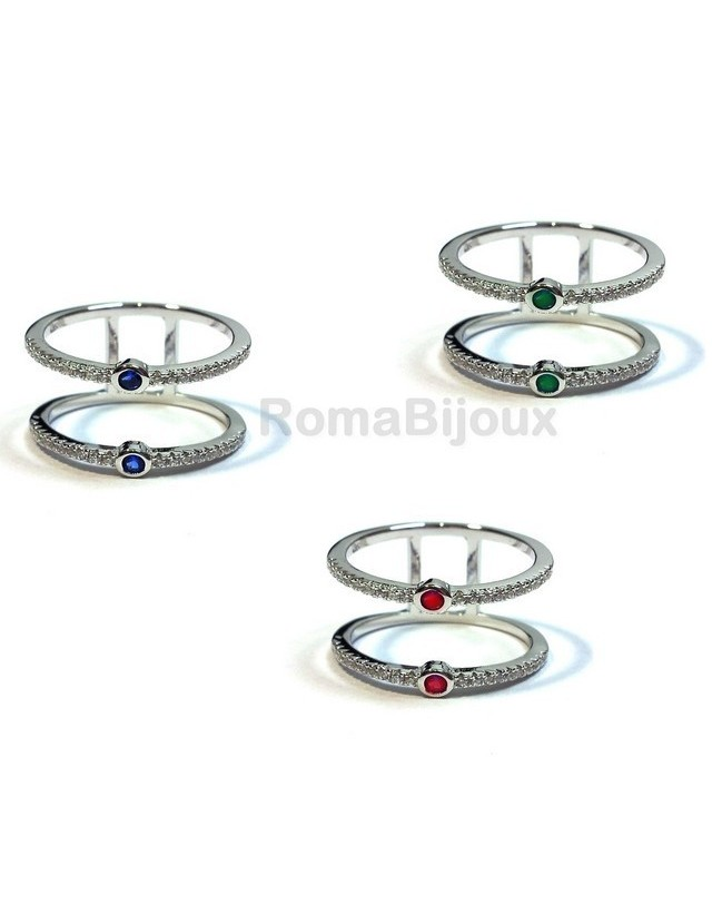 Silver 925: Double ring with zirconcini white and blue stone green red