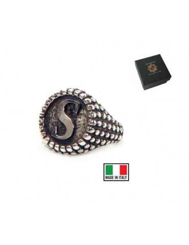 Ring Silver 925 chevalier shield adjustable letter S