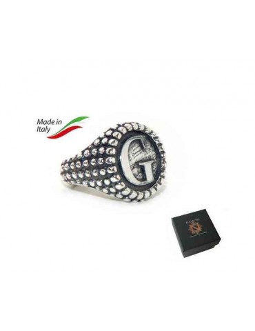 NALBORI Ring Silver 925 chevalier shield adjustable letter G