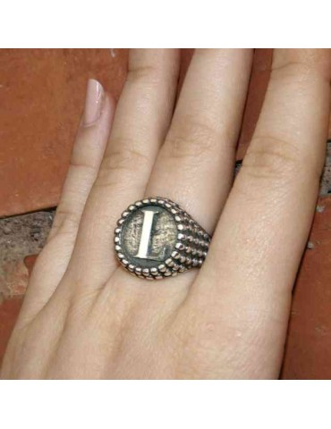 Ring Silver 925 chevalier shield adjustable letter L