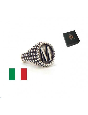 NALBORI Ring Silver 925 chevalier shield adjustable letter M