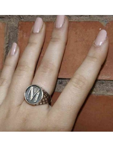 NALBORI Ring Silver 925 chevalier shield adjustable letter M