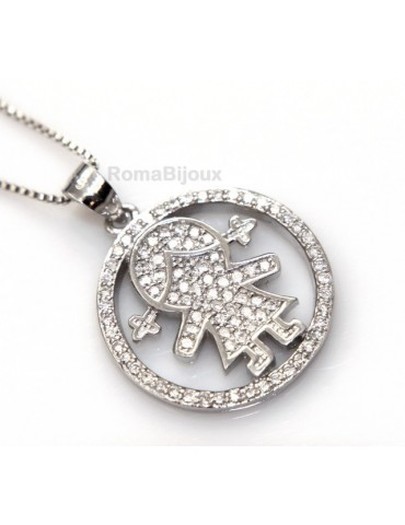 silver 925: 44 cm Necklace Collier Venetian woman and child pendant hoop microsetting white zirconia