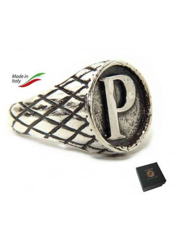 NALBORI Ring Silver 925 chevalier shield adjustable letter P