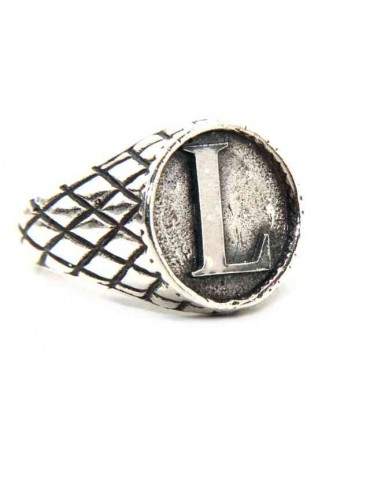 NALBORI Ring Silver 925 chevalier shield adjustable letter L