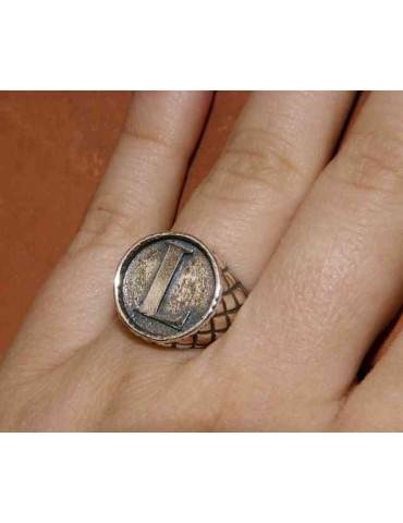 NALBORI Ring Silver 925 chevalier shield adjustable letter L