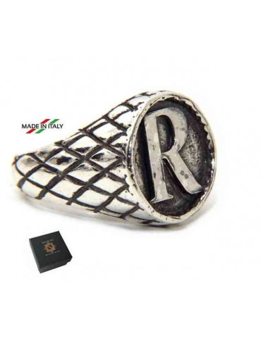 NALBORI Ring Silver 925 chevalier shield adjustable letter R