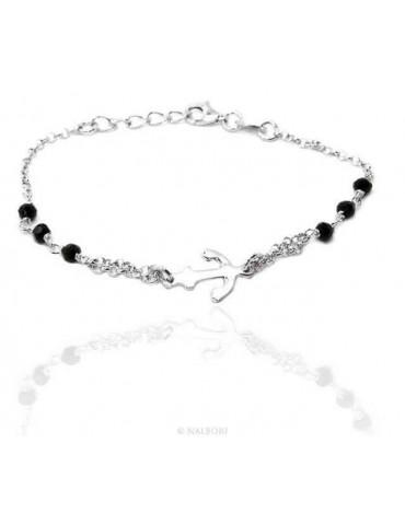 Bracciale uomo donna ragazzo Argento 925 lavorazione a rosario cristallo nero con ancora centrale 15,00-17,50 cm
